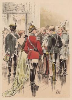 1890-е гг. Офицеры гвардейской кавалерии Второго рейха в пардной форме одежды (слева направо: ганноверский гусар под руку с дамой, гвардейские кирасир, драгун и улан, саксонский гвардеец)