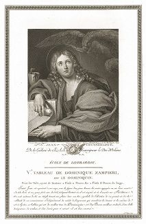 Иоанн Евангелист работы Доменикино. Лист из знаменитого издания Galérie du Palais Royal..., Париж, 1786