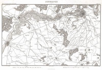 """План местности где 6 ноября 1792 г. сосотоялось сражение у деревни Жемап. Из атласа к работе Луи Адольфа Тьера """"История французской революции"""", карта 3. Париж, 1866"""