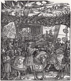 Встреча императора Максимилиана I и короля Генриха VIII Английского (деталь дюреровской Триумфальной арки императора Максимилиана I)