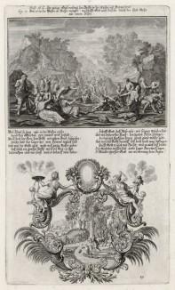 1. Израильтяне голодают в пустыне 2. Израильтяне собирают манну небесную (из Biblisches Engel- und Kunstwerk -- шедевра германского барокко. Гравировал неподражаемый Иоганн Ульрих Краусс в Аугсбурге в 1700 году)