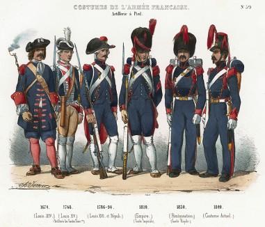 Униформа французских пеших артиллеристов с 1674 по 1840 гг. Costumes de l'armée française depuis Louis XIV, jusqu'à nos jours, л.39. Париж, 1841