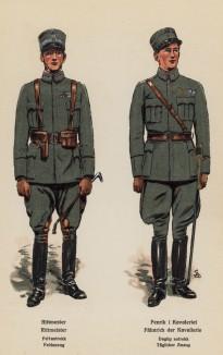 Ротмистр и унтер-офицер норвежской кавалерии в полевой форме (лист 3 работы Den Norske haer. Organisasjon bevaebning, og uniformsbeskrivelse, изданной в Лейпциге в 1932 году)