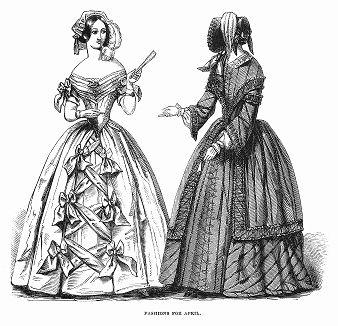 Элегантное креповое платье с атласными бантами, открывающее шею и плечи (слева), шнурованное шёлковое платье в полоску, отделанное галуном (справа) -- парижская мода, апрель 1844 года (The Illustrated London News №100 от 30/03/1844 г.)
