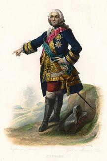 Франсуа де Шевер (1695-1769) - французский генерал. Лист из серии Le Plutarque francais..., Париж, 1844-47 гг.