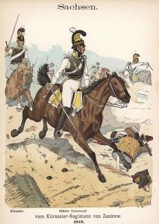Саксонские кирасиры в 1812 г. Uniformenkunde Рихарда Кнотеля, л.16. Ратенау (Германия), 1890