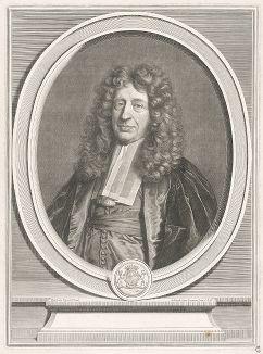 Гедеон Барбье дю Ме (1626--1709) - важный чиновник Министерства культуры Франции и президент Счетной палаты. Гравюра Эделинка по живописному оригиналу Иасента Риго, ведущего французского портретиста своей эпохи.