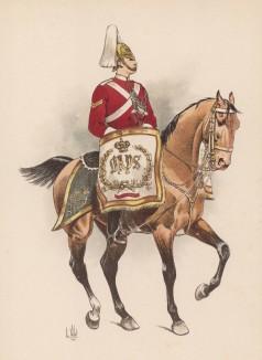 """Литаврщик 2-го драгунского полка гвардии Её Величества королевы Англии (из """"Иллюстрированной истории верховой езды"""", изданной в Париже в 1893 году)"""