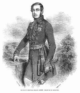 Его Королевское Высочество принц-консорт Альберт (1819 -- 1861 гг.) -- портрет бельгийского живописца и литографа Шарля-Луи Бонье (1814 -- 1886 гг.), в 1843 году переехавшего в Лондон (The Illustrated London News №88 от 06/01/1844 г.)