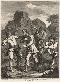 Дон Кихот, гравюра V, 1738. «Несчастный Рыцарь Гибралтара встречает Дона Кихота». Дон Кихот неожиданно сталкивается в горах с Карденьо - юношей, обезумевшим от любви к Лусинде, которую отбил его друг Фернандо, сын герцога. Лондон, 1838