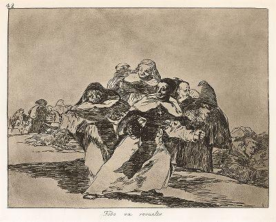 """Всё смешалось. Лист 42 из известной серии офортов знаменитого художника и гравёра Франсиско Гойи """"Бедствия войны"""" (Los Desastres de la Guerra). Представленные листы напечатаны в Мадриде с оригинальных досок около 1900 года."""