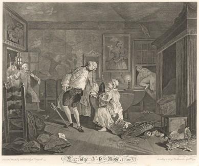 Модный брак, гравюра 5. «Дуэль и смерть графа», 1745. Граф застает супругу с любовником-адвокатом в Багнио (известном доме свиданий). Мужчины дерутся на шпагах. Граф смертельно ранен и умирает. Лондон, 1838