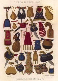 Средневековые сумки, сумочки и кошельки для священников, капелланов и горожан (из Les arts somptuaires... Париж. 1858 год)