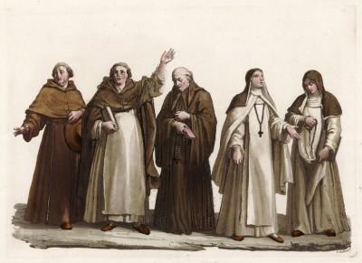 Итальянские монахи и монахини различных орденов (из знаменитой работы Джулио Феррарио Il costume antico e moderno, o, storia... di tutti i popoli antichi e moderni, изданной в Милане в 1820 году (Европа. Том II))