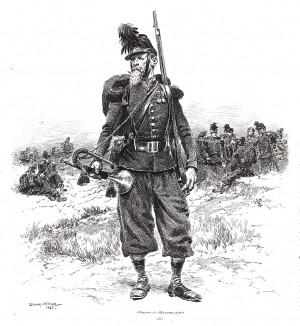 Трубач французских егерей в 1865 году (из Types et uniformes. L'armée françáise par Éduard Detaille. Париж. 1889 год)