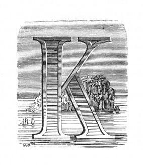 Инициал (буквица) K, предваряющий пятьдесят четвертую главу «Истории императора Наполеона» Лорана де л'Ардеша о пребывании Наполеона на острове Святой Елены. Париж, 1840