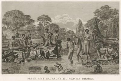 Рыбаки и их семьи на острове Тасмания, до 1856 года именовавшемся Землёй Ван-Димена. Atlas pour servir à la relation du voyage à la recherche de La Pérouse, л.4. Париж, 1800