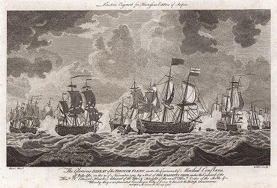 Сражение в бухте Киберон 20 ноября 1759 года, закончившееся знаменательным поражением французского флота под командованием маршала Конфлана от флота Его Величества под предводительством достопочтимого сэра адмирала Эдварда Хока.