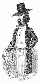 Образ парижского денди второй четверти XIX века с длинными распущенными волосами, бородой, широкополой шляпой, одетый в свободное пальто (The Illustrated London News №101 от 06/04/1844 г.)