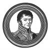 """Анри Гасьен Бертран (1773—1844) — граф, дивизионный генерал, адъютант Наполеона I. В 1815 году вместе с семей отбыл на остров Святой Елены, сопровождая опального императора. Илл. к пьесе С.Гитри """"Наполеон"""", Париж, 1955"""