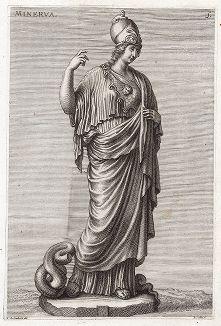 Афина (Минерва) Джустиниани. Лист из Sculpturae veteris admiranda ... Иоахима фон Зандрарта, Нюрнберг, 1680 год.
