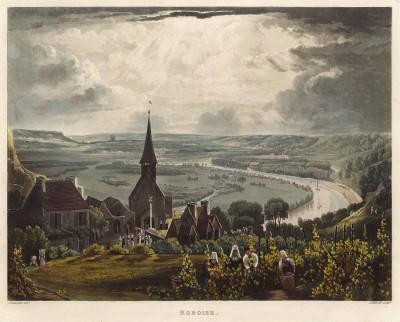 Сбор винограда в местечке Робуаз (из Picturesque Tour of the Seine, from Paris to the Sea... (англ.). Лондон. 1821 год (лист XI))