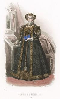 Правление Генриха II. Костюм придворной дамы: гофрированный воротник, парчовое платье и изящная драгоценная коробочка-блохоловка на цепочке.