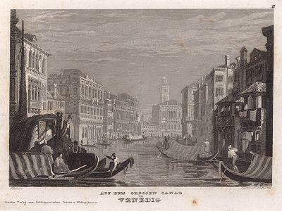 Вид на Большой канал в Венеции. Meyer's Universum, Oder, Abbildung Und Beschreibung Des Sehenswerthesten Und Merkwurdigsten Der Natur Und Kunst Auf Der Ganzen Erde. Хильдбургхаузен, 1833 год.