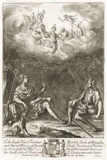 """Эклога V """"Буколик"""" Вергилия, посвященная герою сицилийского мифа -- Дафнису. Лист подписного издания посвящён  Джеймсу Берти -- 1-му графу Абингтона (1653--1699 гг.)."""