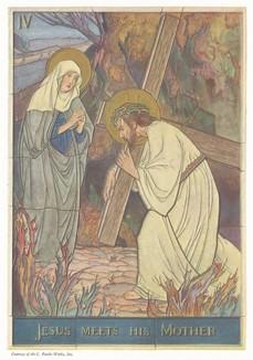 Встреча Христа с Богородицей. Декоративное изразцовое панно из дельфтского фаянса.