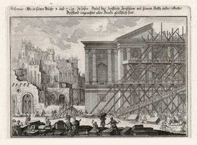 Строительство храма в Иерусалиме (из Biblisches Engel- und Kunstwerk -- шедевра германского барокко. Гравировал неподражаемый Иоганн Ульрих Краусс в Аугсбурге в 1700 году)