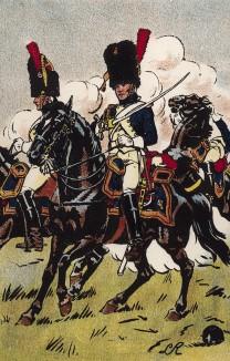 Конные гренадеры французской императорской гвардии атакуют под вражеским огнем в сражении при Асперн-Эсслинге 21-22 мая 1809 г. Коллекция Роберта фон Арнольди. Германия, 1911-29