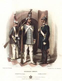 Гренадеры прусской лейб-гварди в униформе дворцового караула образца 1870-х гг. Preussens Heer. Берлин, 1876