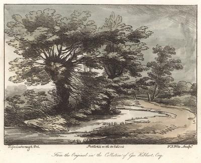 Деревья у пруда. Гравюра с рисунка знаменитого английского пейзажиста Томаса Гейнсборо из коллекции Дж. Хибберта. A Collection of Prints ...of Tho. Gainsborough, Лондон, 1819.