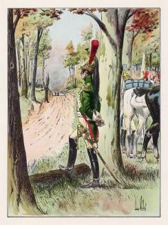 """В резерве (старший офицер гвардейских драгун в парадной форме) (иллюстрация к работе """"Императоская Гвардия в 1804--1815 гг."""" Париж. 1901 год. (экземпляр № 303 из 606 принадлежал голландскому генералу H. J. Sharp (1874 -- 1957))"""