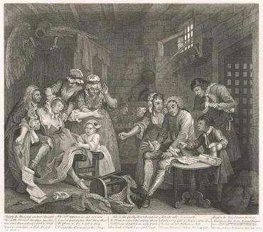 Карьера мота, гравюра VII. «Сцена в тюрьме», 1735. Проиграв в казино и не сумев расплатиться по долгам, мот оказывается в долговой тюрьме. Хогарту удалось особенно достоверно передать выражение лица подавленного человека. Лондон, 1838