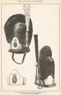 Головные уборы шведских гренадеров конца XVIII века. Svenska arméns munderingar 1680-1905. Стокгольм, 1911
