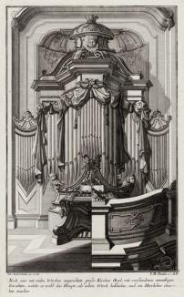 Церковный орган в стиле pококо. Johann Jacob Schueblers Beylag zur Ersten Ausgab seines vorhabenden Wercks. Нюрнберг, 1730