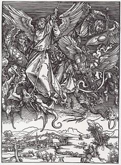 Апокалипсис Дюрера. Сражение архангела Михаила с драконом (небесное воинство)