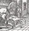 """Умирающий Катон даёт наставления Катону Младшему (иллюстрация к книге """"Рыцарь Башни"""", гравированная Дюрером в 1493 году)"""