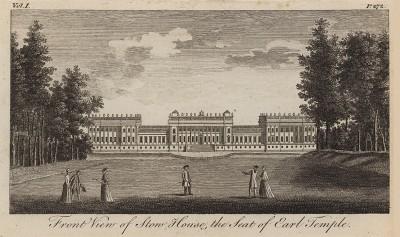 Дворец Стоу-Хаус в Бэкингемшире, принадлежащий графам Темпл (из A New Display Of The Beauties Of England... Лондон. 1776 год. Том 1. Лист 272)