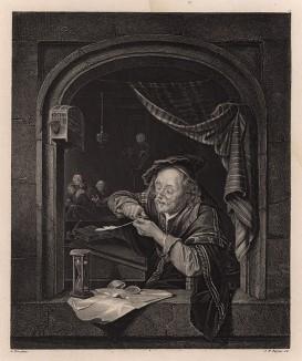 Учитель чистописания. Гравюра с картины Герарда Доу. Картинные галереи Европы, т.3. Санкт-Петербург, 1864