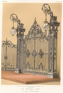 Изящные кованые ворота от мастеров лондонской фирмы Baily & Son, украшенные стеклянными фонарями. Каталог Всемирной выставки в Лондоне 1862 года, т.2, л.103.