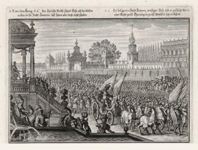 Войско израильтян под Дофаимом (из Biblisches Engel- und Kunstwerk -- шедевра германского барокко. Гравировал неподражаемый Иоганн Ульрих Краусс в Аугсбурге в 1700 году)