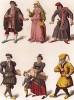 Сливки швейцарского общества в XV веке: граф, графиня, юрисконсульт, семья буржуа с сыном и еврей (из Les arts somptuaires... Париж. 1858 год)