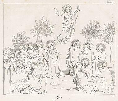 Вознесение Господне, приписываемое Джотто. Лист из Geschichte der Malerei in Italien... братьев Рипенхаузен, 1810 год.