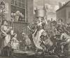 Взбешенный музыкант, 1741. Хогарт изобразил дом своего друга, музыканта Вильяма Хаггинса, в переулке Сент-Мартин. Предполагается, что музыкант, взбешенный какофонией уличных звуков, и есть Хаггинс. Вдали виднеется церковь Сент-Мартин. Лондон, 1838