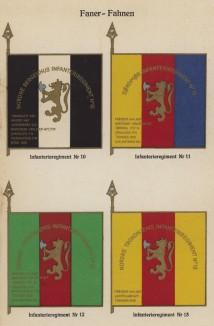Знамёна 10-го, 11-го, 12-го и 13-го полков норвежской пехоты (лист 16 работы Den Norske haer. Organisasjon bevaebning, og uniformsbeskrivelse, изданной в Лейпциге в 1932 году)