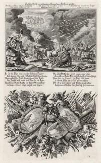 1. Смерть Елеазара, сына Саварона 2. Аллегорическая заставка на тему «Книги Маккавейской» (из Biblisches Engel- und Kunstwerk -- шедевра германского барокко. Гравировал неподражаемый Иоганн Ульрих Краусс в Аугсбурге в 1694 году)