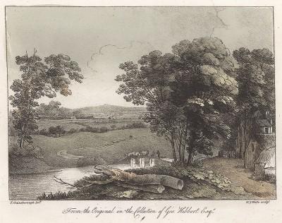 Пейзаж с рекой и видом на деревню. Гравюра с рисунка знаменитого английского пейзажиста Томаса Гейнсборо из коллекции Дж. Хибберта. A Collection of Prints ...of Tho. Gainsborough, Лондон, 1819.